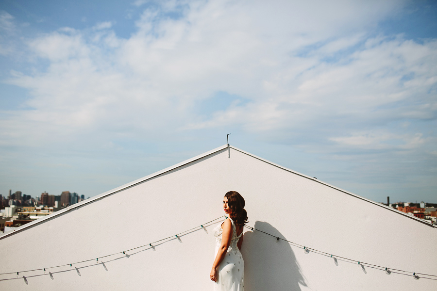 bride on a roof in brooklyn